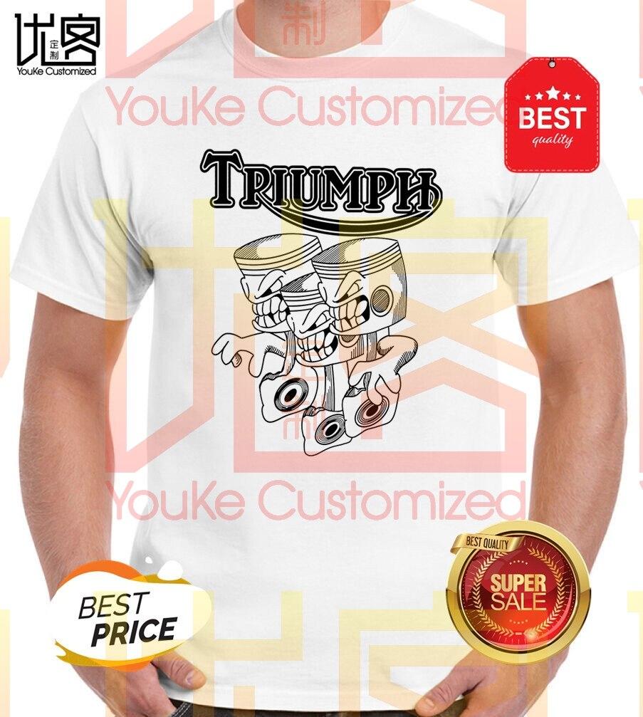 Triumph Triple Three Pistons Biker T-Shirt 2020 Men's Women's Summer 100% Cotton Team Tees Male Top Popular Normal Tee Shirts