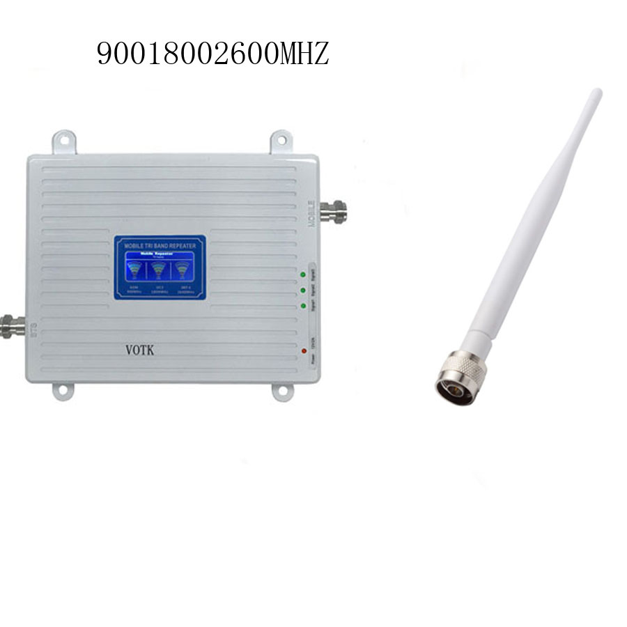 2019 VOTK 2G 4G Tri Band Signal Booster 900 1800 2600 MHZ Signal Amplifier Mobile Phone GSM Repeater With Indoor Antenna