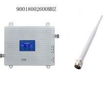 2019 votk 2g 4g tri band signal booster 900 1800 2600 mhz amplificador de sinal repetidor do telefone móvel gsm com antena interna
