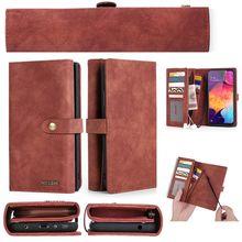 พรีเมี่ยมMutifuctionกระเป๋าสตางค์โทรศัพท์สำหรับSamsung A70 สำหรับGalaxy A50 A40 Flipช่องใส่การ์ดแม่เหล็ก