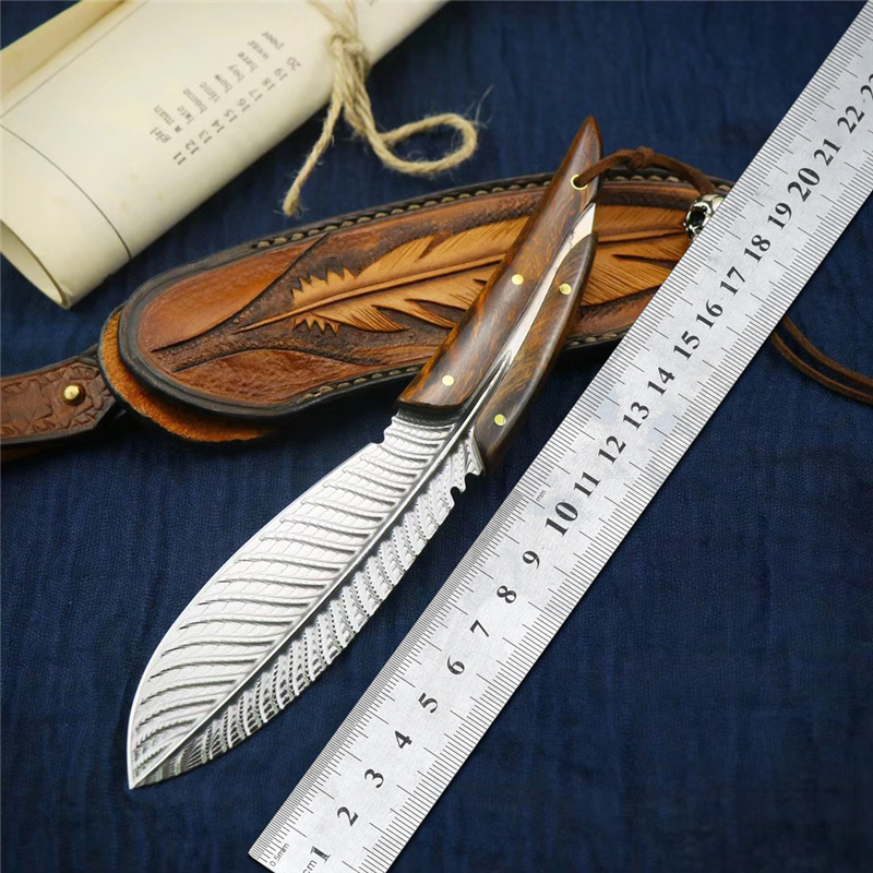 Damascus Steel Feather Knife Outdoor Straight Knife CSGO Tactical Hunting Survival Fixed Blade Knives Camping Utility EDC Tools