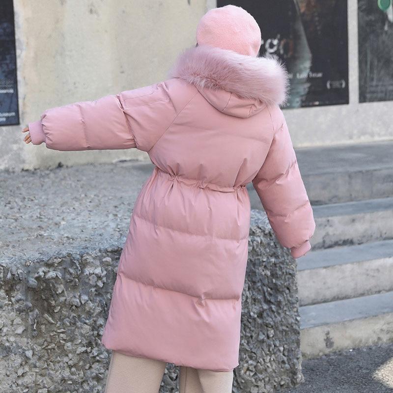 Черная/белая/розовая Зимняя куртка размера плюс, Женская длинная куртка с меховым воротником, большой размер, стеганая верхняя одежда, теплое пальто DZA027 - 3