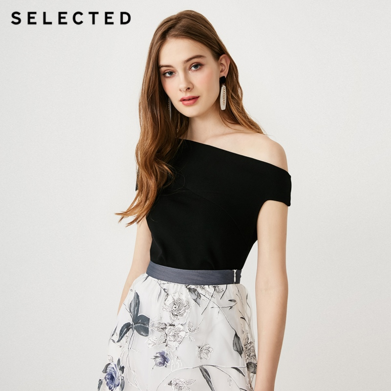 SELECTED Stretch Diagonal Boat Neck Short-sleeved Knitted Tops S|419224502