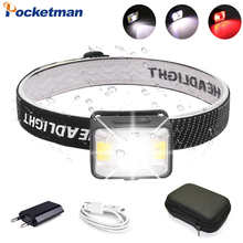 80000LM Super Bright Headlamp USB Rechargeable Headlight with Built-in Battery Red White Light Head Light Waterproof Head Lamp
