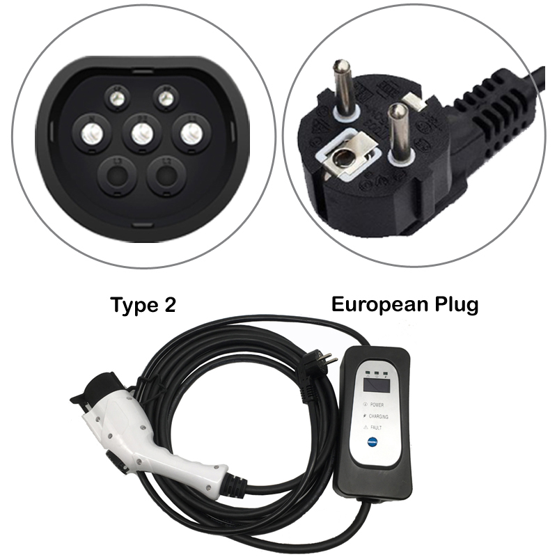 ev charger type 2  for Electric car iec62196 Schuko 5.5M ev charging cable portable charger  level 2 8A/10A/13A/16A adjustable-in Chargers & Service Equipment from Automobiles & Motorcycles