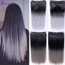 """2"""" Длинные прямые женские волосы на 5 клипсах для наращивания, синтетические волосы Haistyle, жаростойкие белые, красные, фиолетовые, серые головные уборы"""