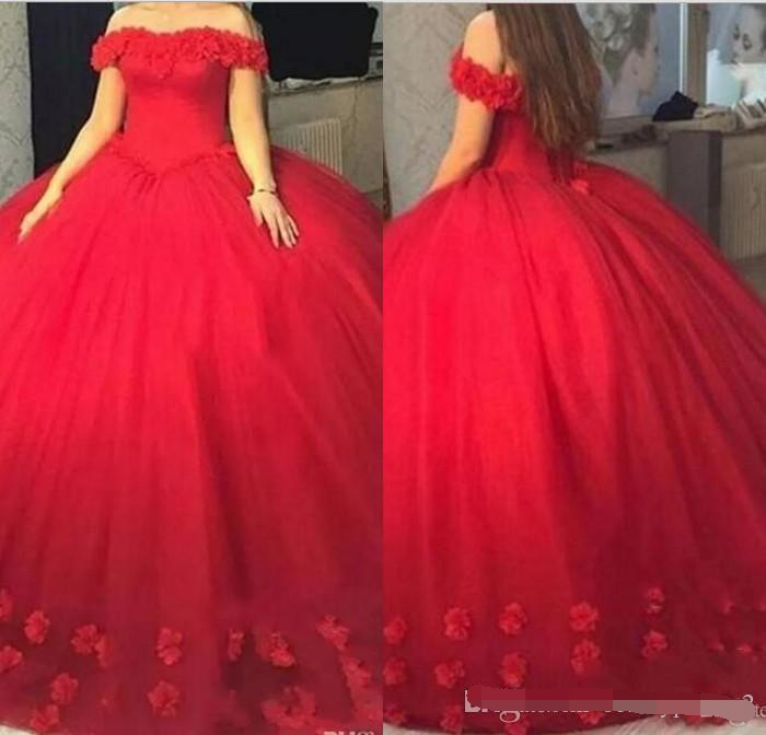 Red 3D-Floral Puffy Ball Gown Quinceanera Dresses Sweet 16 Off The Shoulder Lace Up Back 2019 Party Pageant For Girls Prom Dress