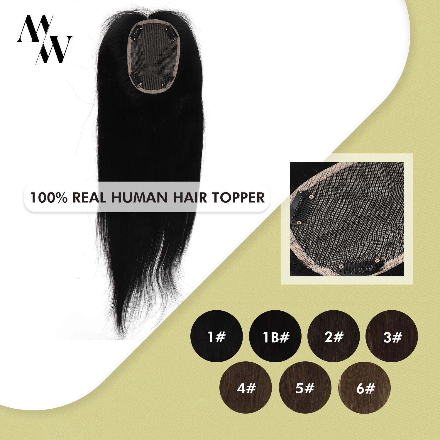 MW 14inch <font><b>Lace</b></font> Hair Topper <font><b>Wig</b></font> 130% Density Clip In Toupee Hair For Women Machine Remy Human Hair Brown Color <font><b>10</b></font>*13cm image