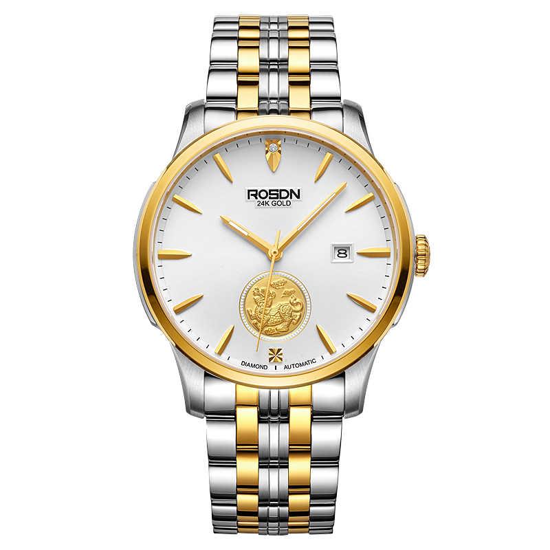ROSDN Limited montres pour hommes marque de luxe japon montre mécanique automatique hommes 24K or Design 50M Waterpoof Couples montre R2163M