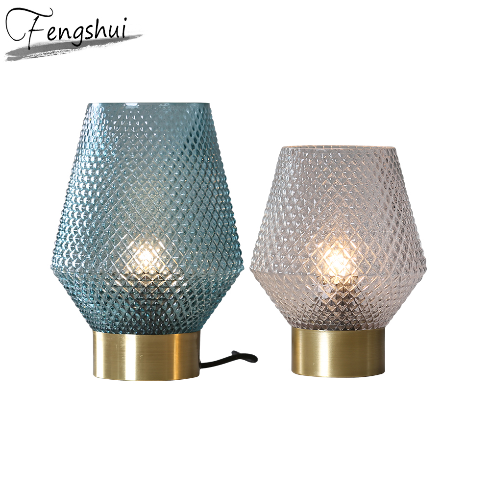 Nordic Glass Led Table Lamp Art Deco Table Lamps Bedside