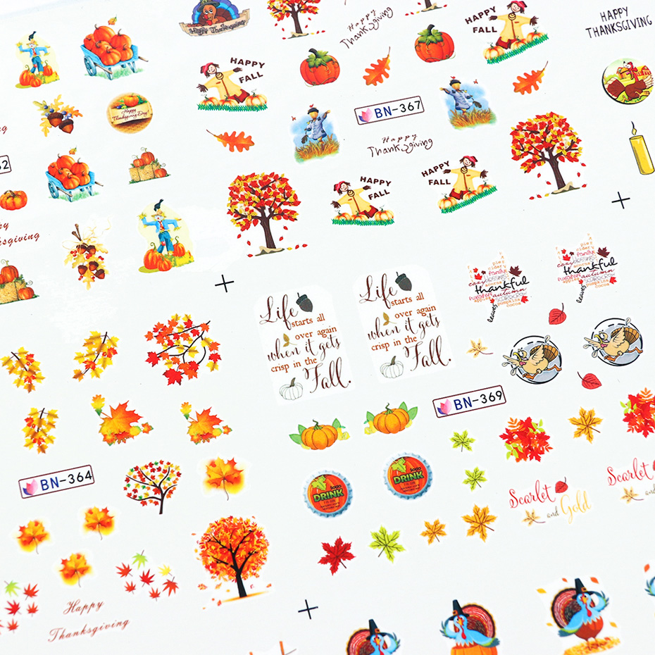 Image 5 - 12 Designs Fall Leaves Nail Sticker Water Transfer Nail Art Decal Autumb Yellow Maple Leaf Turkey Nails Decorations JIBN361 372-in Stickers & Decals from Beauty & Health