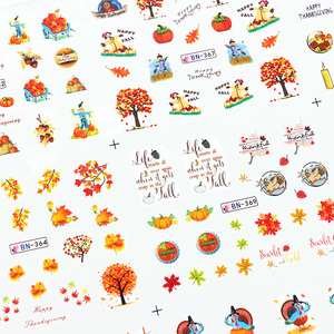Image 5 - 12 Designs Fall Leaves Nail Sticker Water Transfer Nail Art Decal Autumb Yellow Maple Leaf Turkey Nails Decorations JIBN361 372