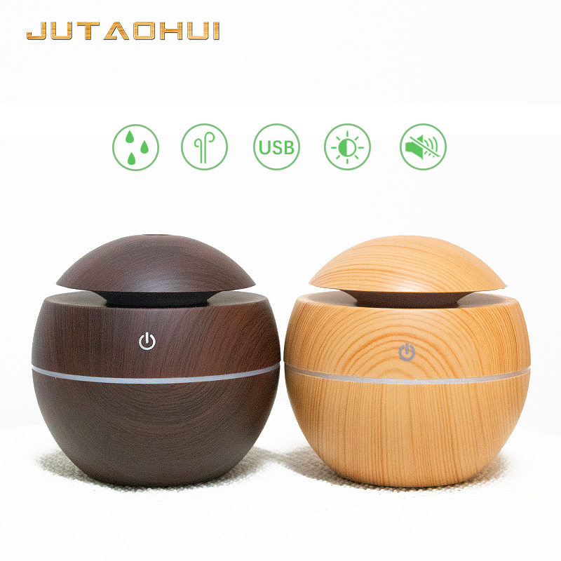 Mini 001 Usb 130ml Air Humidifier Wood Grain Aroma Diffuse Desk Decoration Essential Oil Mist Maker LED Light For Home Office L