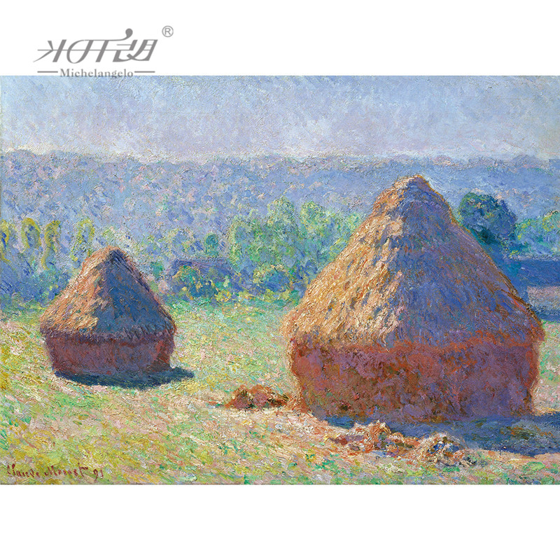 Michelangelo Wood Jigsaw Puzzles 500 1000 1500 2000 Pieces Claude Monet Masterpieces Haystack Painting Art Educational Toy Decor