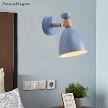MacaronโคมไฟผนังNordicสไตล์Creativeห้องนอนโมเดิร์นโคมไฟข้างเตียงบุคลิกภาพไม้โคมไฟ