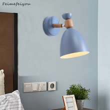Macaron wall lamp Nordic style creative bedroom wall simple modern bedside lamp personality wooden wall lamp