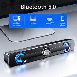 USB Bluetooth компьютерная колонка, стерео сабвуфер, бас, объемный звук, Настольная мини-Колонка для ПК с проводным громким динамиком для дома