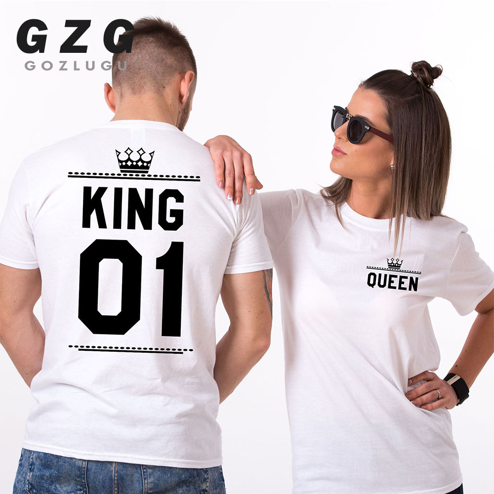 Fashion Summer Couple Clothes King Queen Letter Printing Women Men T Shirt Funny Matching Lovers Short Sleeve Tees Top 2019 new