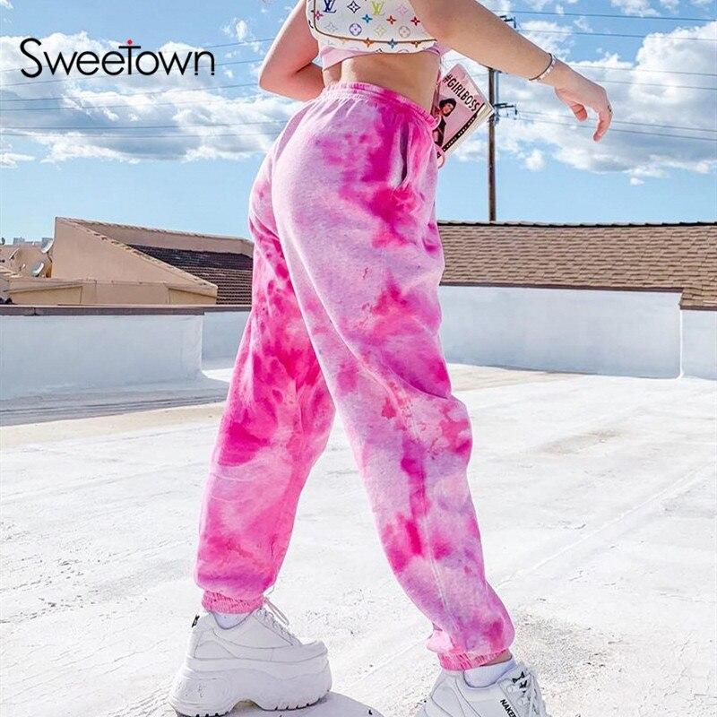 Sweetown Pink Tie Dye Print Baggy Women Jogger Sweatpants Casual Loose Elastic High Waist Harem Pants Female Hip Hop Streetwear