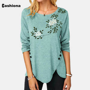 Plus size Women Elegant Leisure Casual T shirt Flower Print O-neck Loose Irregular Tops 2020 Summer New Tees shirt Femme Clothes