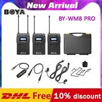 BOYA-micrófono inalámbrico Dual BY-WM8 Pro K1 K2 BY-WM4 pro, UHF, para entrevista, iPhone, pc, cámara de vídeo DSLR