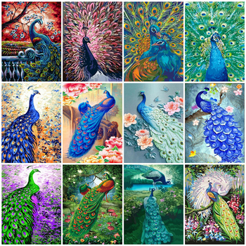 HUACAN Picture By Numbers Peacock Hand Painted Oil Painting Number Animal Wall Art DIY For Adults Gift Home Decor - discount item  47% OFF Arts,Crafts & Sewing