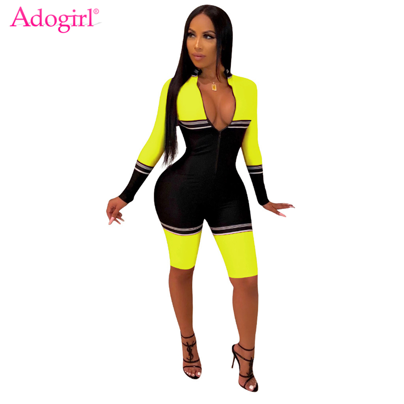 Adogirl Color Patchwork Bandage Jumpsuit Women Zipper V Neck Long Sleeve Skinny Playsuit Athleisure Romper Knee Length Pants