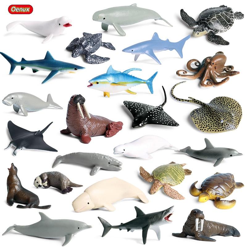 Oenux Mini Sea Life Animals Dolphin Rays Shark Turtle Model Action Figures Ocean Marine Aquarium Figurines Education Kids Toys