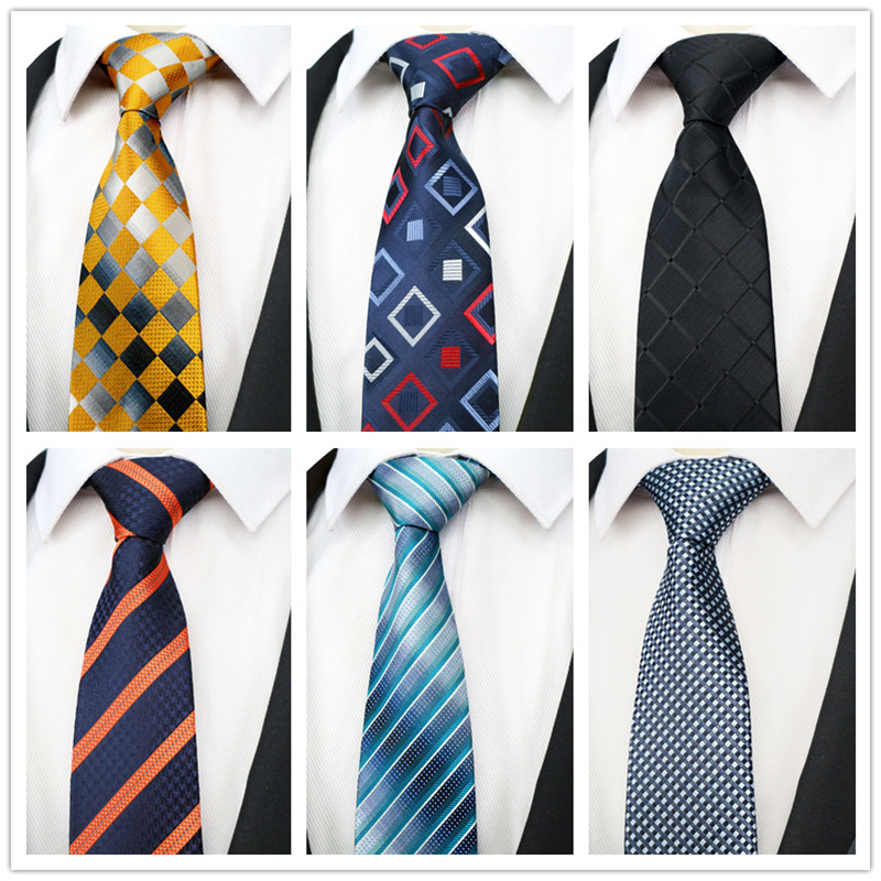 DOOBU NEW Classic Silk Man Ties Navy Orange Stripe Jacquard Woven Neck Tie Men Holiday Wedding Party Gravatas Ties KT235-254