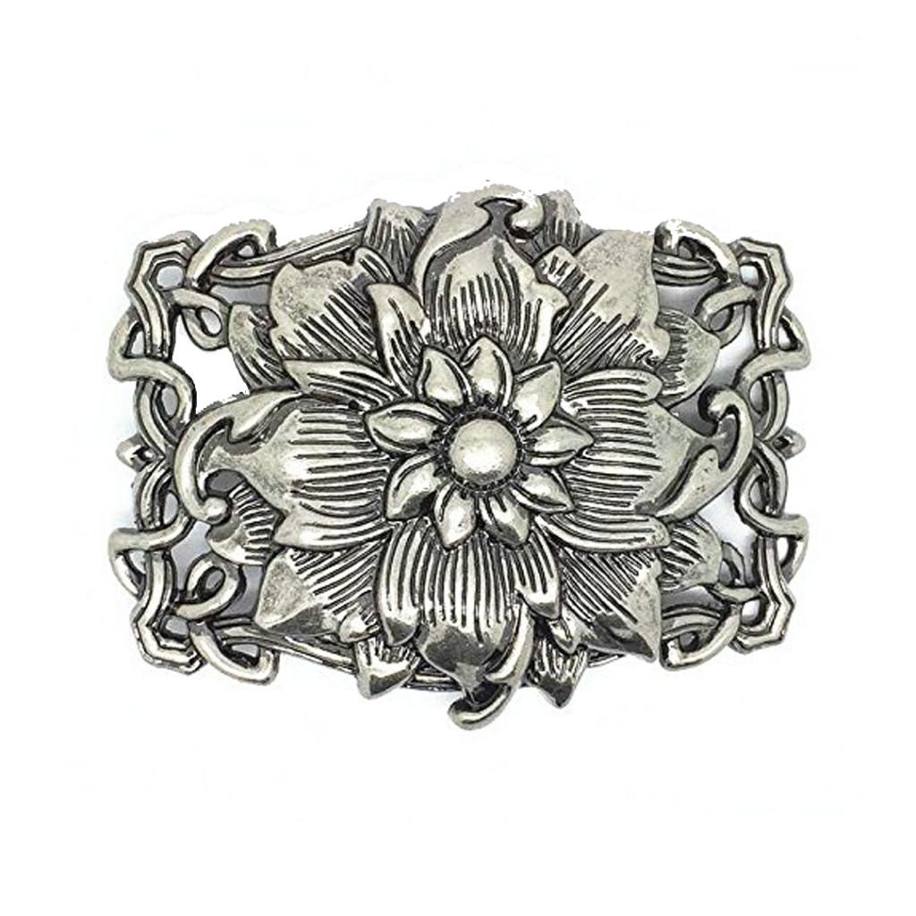 Silver Lotus Vintage Rose Flower Floral Pattern Men's Leather Belt Buckle Lot Metal Cowgirl
