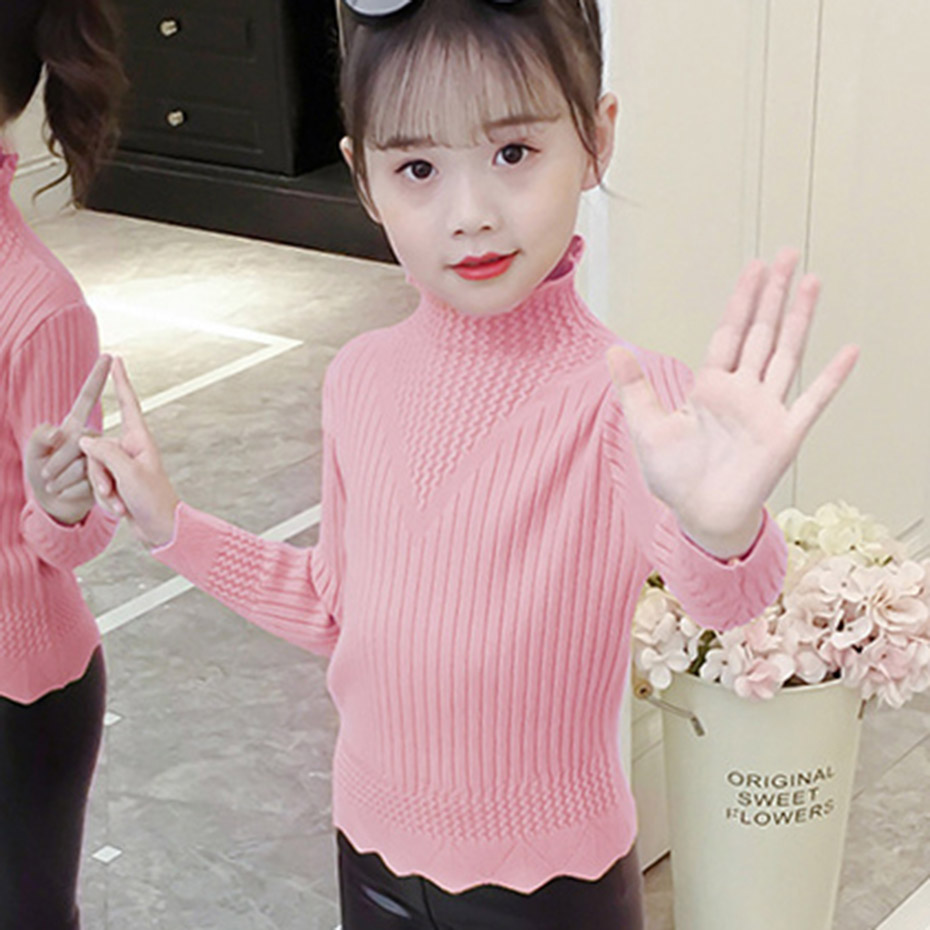Girls Sweaters Solid Kids Knitted Sweater Pullover Turtleneck Jumper Kids Fall Casual Child's Winter Clothes For Girls New year