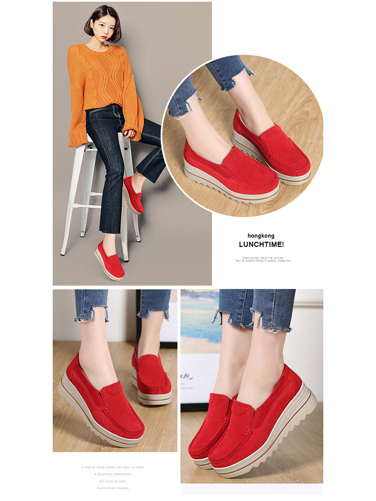 Women Flats Plus Size Increase Wedge Flat Shoes Women Fashion Moccasins Ladies Female Footwear Sneaker Zapatos De Mujer VT613 (3)