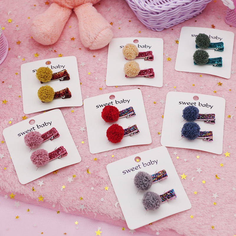 2Pc/Set Girls Hair Clips Cute Plush Ball Hair Pin Children Sequins Hairpin Princess Hair Accessories Kids Baby Girls Headwear