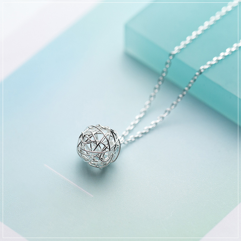 Colusiwei Authentic 925 Sterling Silver Wool Ball Winding Hollow Out Round Pendant Necklaces for Women Sterling Silver Jewelry