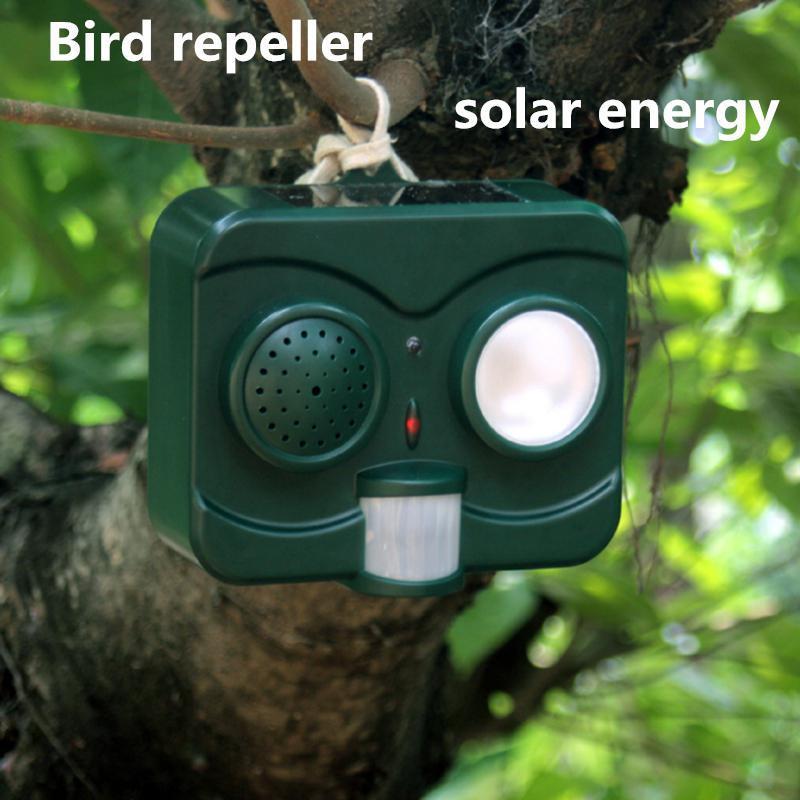 Solar Energy Acousto-Optic Bird Repeller Repellent Deterrent Pigeons Scarer Crow