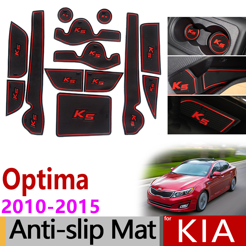 Anti-Slip Gate Slot Mat Rubber Coaster For KIA Optima 2010 2011 2012 2013 2014 2015 KIA K5 TF MK3 Accessories Car Stickers 13pcs