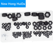 Black Nylon Hex Nut Metric Thread Plastic Hexagon Nut M2 M2.5 M3 M4 M5 M6 M8 M10 M12 Assortment Kit Set