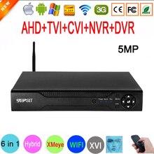 5mp güvenlik kamerası H.265 + ses Hi3521D Xmeye 4 kanal 4CH 8CH 8 kanal 6 in 1 yüz algılama hibrid XVI CVI TVi NVR WIFI AHD DVR