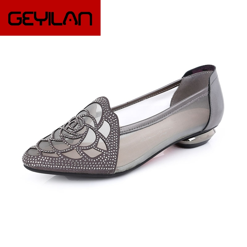 GKTINOO Flats 2020 Summer Sandals Woman Rhinestone Cut Outs Gauze Women Shoes Genuine Leather Pointed Toe Comfortable Flat Shoes