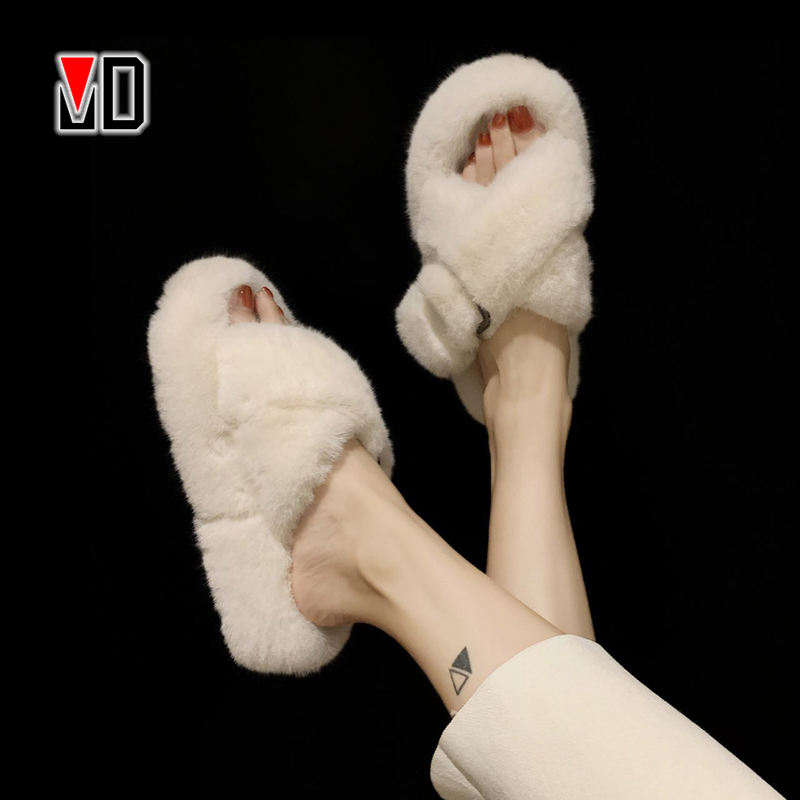 Mo Dou House Women Fur Slippers Fashion Cross Band Warm Plush Ladies Fluffy Shoes Cozy Open Toe Indoor Fuzzy Slides For Girls