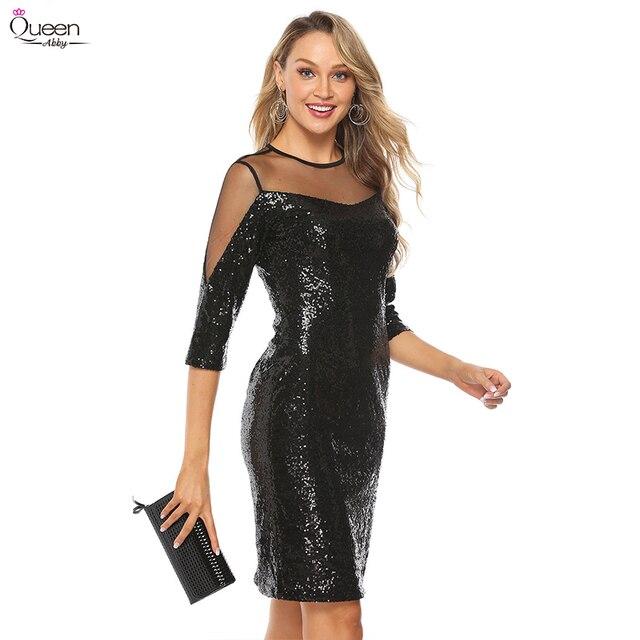Lantejoulas vestidos de cocktail rainha abby bainha o pescoço ilusão 3/4 mangas dividir zíper up voltar sexy vestidos pretos para festa