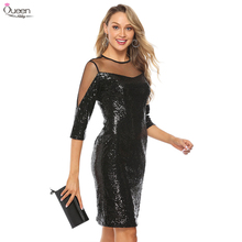 Sequined Cocktail Dresses Queen Abby Sheath O Neck Illusion 3/4 Sleeves Split Zipper up Back Sexy Black Gowns For Party