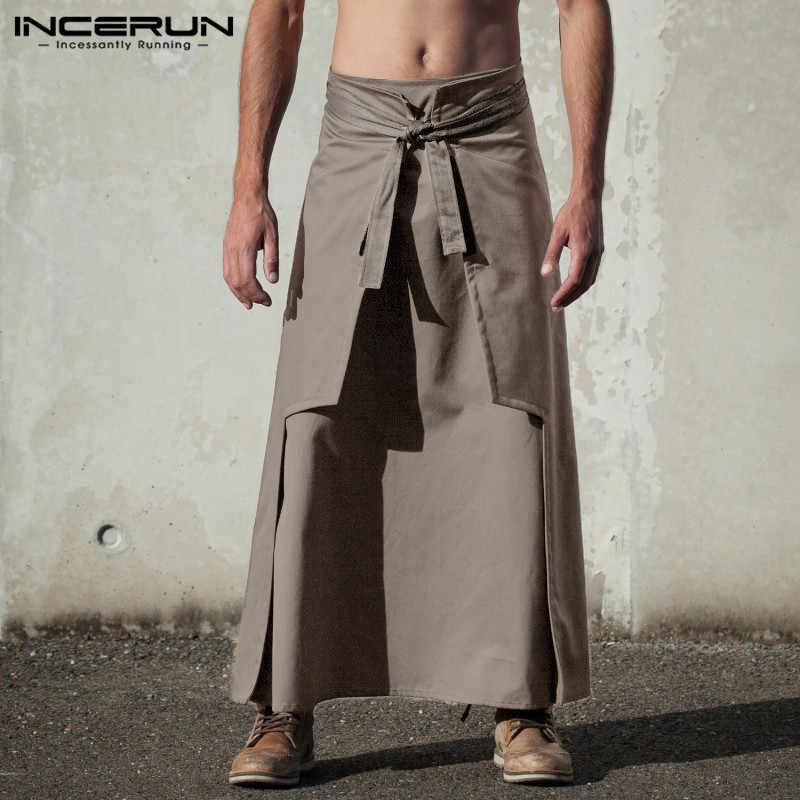 INCERUN Casual Kilt Samurai Hosen Herren Lange Röcke Kampfkunst Stil Kendo Röcke Männer Solide Vintage Military Kleidung