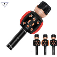 Wster Versione Bluetooth Karaoke Microfono Senza Fili Professionale Altoparlante Lettore Portatile Magic Voice Record di Musica Mic Pk WS-858(China)