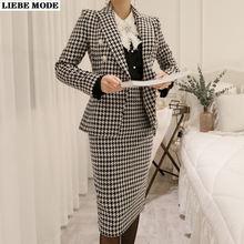 Клетчатый костюм женщина деловой Женский комплект 2 шт двубортный