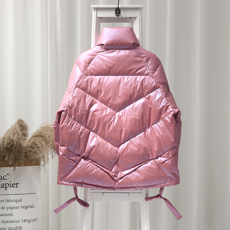 Winter Bright Side White Duck Down Jacket Women Stand Collar Candy Colors Parkas Female Warm Snow Down Outerwear