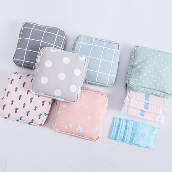Women Girl Sanitary Pad Pouch Napkin Towel Storage Bag Credit Card Holder Coin Purse Cosmetics Headphone Case Sanitary Pouch image