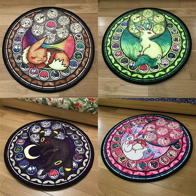 Pokemon Round Carpet Rug Cute Cartoon Floor Rug For Living Room Bedroom Kids Room Non-Slip Play Mat Round Mat Carpet