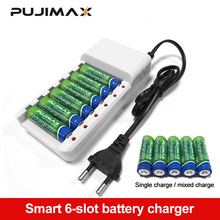 PUJIMAX 6 Slots Batteries Charger AA AAA Ni-MH Ni-Cd Batteries Rechargeable Battery EU Plug universal battery charger cheap Electric PJ-N601W USB Output Other battery chargers for aa batteries usb charger battery charger case Standard Battery AA AAA