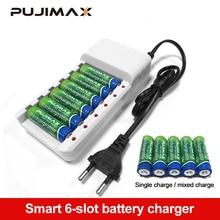 Pujimax 6 Slots Batterijen Charger Aa/Aaa Ni Mh/Ni Cd Batterijen Oplaadbare Batterij Eu Plug Universele Batterij lader